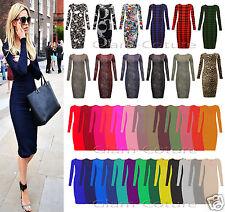 Women Ladies Long Sleeve Midi Dress Stretch Bodycon Plain Jersey Maxi Plus Sizes