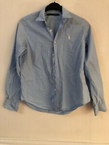 Ralph Lauren Sport Blue Shirt Size 8 Womens Long Sleeve (M591) Collared Cotton
