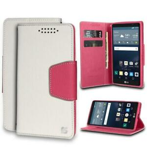 Infolio For LG G Stylo LS770/ MS631/ H631 White/Pink with Pink Gel/PU Leather/TP