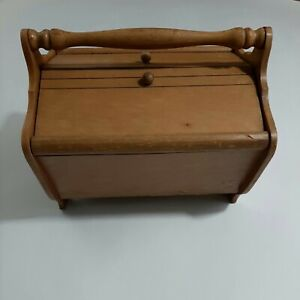 Antique VTG Wooden Sewing Box Handle Curved Brown Double Doors Thread Tray