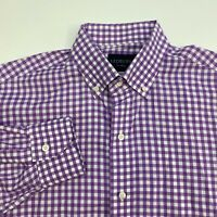 Ledbury Button Up Shirt Mens 16.5 42cm Purple Check Long Sleeve Casual