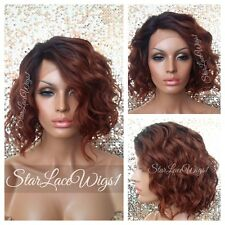 Lace Front Wig Human Hair Blend Bob Auburn Dark Root Beach Wavy Heat Safe Ok