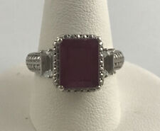 CHUCK CLEMENCY Sterling Silver Art Deco Style Rectangle Cut Ruby Ring SZ 8