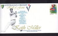 """SOUVENIR COVER: CRICKET,  HALL OF FAME.  """"KEITH MILLER"""""""