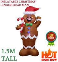 New 1.5M Christmas Airblown Inflatable Gingerbread Man Waving LED Yard Decor