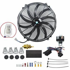 "16"" Electric Radiator Fan 12v 120w Thermostat Wiring Switch Relay Kit Black"