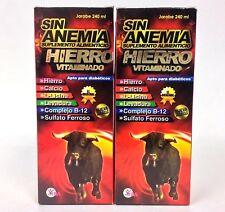 2 SIN ANEMIA SUPLEMENTO ALIMENTICIO CON HIERRO VITAMINADO JARABE 240ml