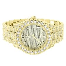 Iced Out Presidential Style Watch Simulated Diamond Techno Pave Bling Gold Tone