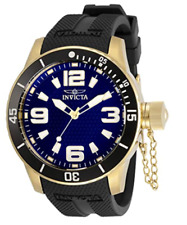Specialty Men's 48mm Stainless Steel Gold Blue Dial Quartz 30699 Invicta Watch
