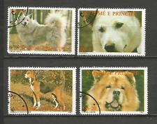 1987 chien Sao Tomé-et-Principe série 4 timbres anciens oblitérés /T4375