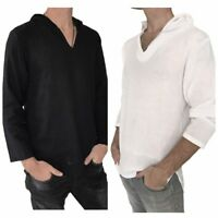 Men's Hoodie Hippie Shirts Beach 100% Soft Cotton Top Yoga Shirt Boho Hood