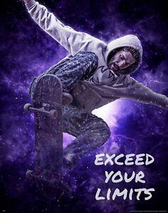 Skateboarding Exceed Motivational Poster Art Print Boys Kids Room Wall Decor