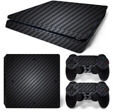 PS4 SLIM SKIN GLOSSY 5D BLACK CARBON FIBER