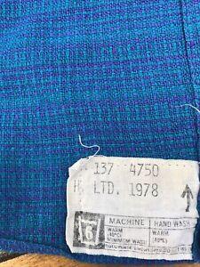 Genuine Vintage 1970s Double Bedspread / Bed cover - Purple & green woven stripe