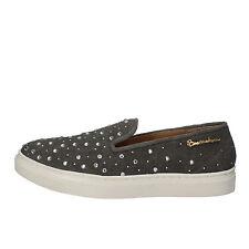 scarpe donna BRACCIALINI 37 EU mocassini grigio tessuto strass AE539-B