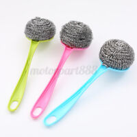 Kitchen Handle Stainless Steel Wire Ball Brush Washing Dish Pot Cleaning