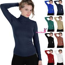 Basic Long Sleeve Soft Seamless Stretch Turtleneck Mock Neck Top Slim Fit Shirts