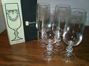 Bohemia Fine Lead etched Crystal-Cascade-Box of 4- 7 oz flute champagne glasses