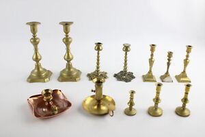 12 x Vintage BRASS Candlesticks / Holders Inc Matching Pairs, Copper Etc (2876g)