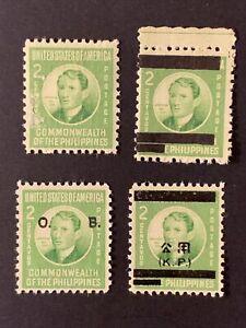 U2/64 US Philippines Stamp Japan WWII 1942 Scott NQ1 + 3 2MNHOG /2Unused NHNG