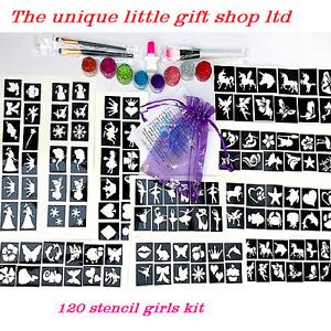 Girls GLITTER TATTOO KIT 120 stencils 8 glitters OR REFILL ITEMS