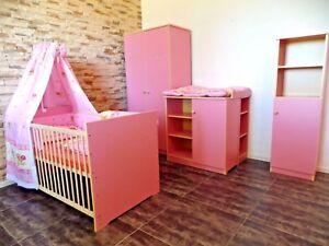 Babyzimmer Komplett Set Babybett Gitterbett Schrank Kommode Umbau 2 Regal ROSA