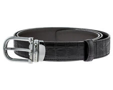 27ccc415ff17 Montblanc Brown Chrome-tanned Leather Steel Pin Buckle Men Belt 114391 New  Orig