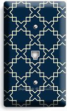 Teal Blue Arabic Trellis Pattern Phone Telephone Cover Wall Plate Room Art Decor