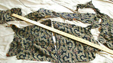 Vtg Victorian Ornate Fabric Remnants Pattern Antique Floral 1800s