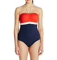 Tommy Hilfiger One Piece Sz 10 Tomato Navy Blue Multi Halter Swimsuit TH49253