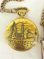 Andre Durando Pocket Watch Fishing Scene 17 Jewels