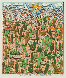 """James Rizzi """"Waiting For The Sun"""" 3-D Construction Lithograph"""