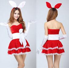 Costume Abito Completo Coniglietta Rabbit Bunny Bunnies Party Sexy Rosso Vestito