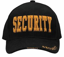 "Black Cap With Gold ""Security"" - Deluxe Low Profile Baseball Hat"