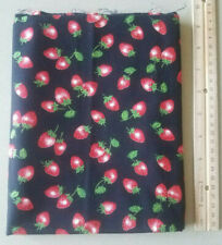 1 YARD Black Strawberry Fabric cotton crafting material sewing quilt fruit