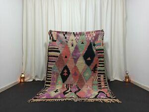 """Berber Vintage Boujad Moroccan Rug 4'7""""x 6'6"""" Feet Carpet Wool Area Handmade Rug"""