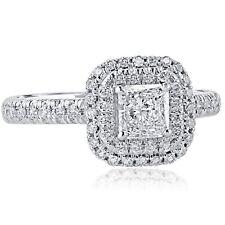 1.07 Carat G-VS1 Radiant Cut Diamond Double Halo Engagement Ring 18k White Gold