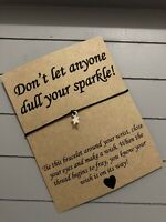 ⭐️Don't Let Anyone Dull Your Sparkle Quote Charm Friendship Wish Bracelet Gift⭐️