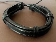 (2) Leather Bracelet Men Women Handmade Stretchy Adjustable