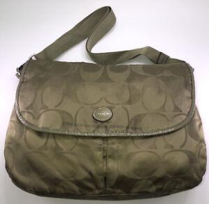 Coach Messenger bag green leather trim adjustable strap Satchel