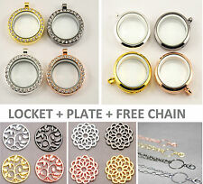 30mm GLASS LIVING LOCKET + WINDOW PLATE + FREE CHAIN Silver Gold Gunmetal Rose