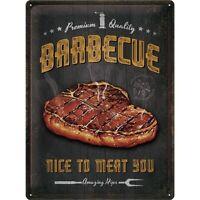 Barbecue Grillen Fleisch Nostalgie Blechschild 40 cm Tin sign shield