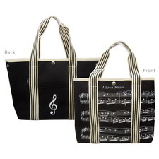 Canvas Tote Bag Black With Sheet Music Design