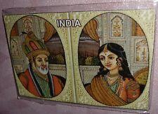 PRETTY MAGNET FRIDGE MINIATURE PRINT KING SHAHJAHAN & HIS QUEEN MUMTAZ INDIA ART