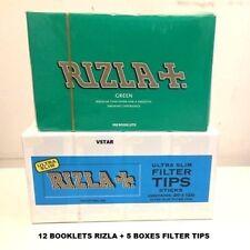 600 RIZLA GREEN ROLLING PAPERS & 600 RIZLA ULTRA SLIM FILTER TIPS ORIGINAL