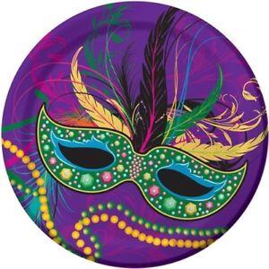 Mardi Gras Masks 7 Inch Paper Plates 8 Pack Mardi Gras Tableware Party Supplies