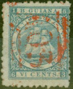 British Guiana 1867 6c Ultramarine SG93 P.10 Good Used Ex- Fred Small