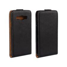 Samsung Galaxy A3 (2015) Flip Case Echt Leder Genuine Split Etui Hülle Schwarz