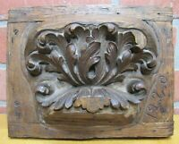 Antique Hand Carved Decorative Art Architectural Element Plaque thick detail