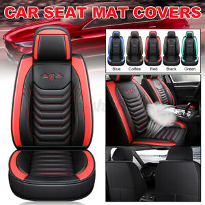 Luxury PU Leather Car Seat Cover Cushion Protector Front SUV Truck Interior USA